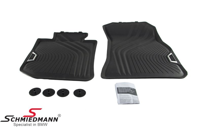 "Rubber floormat set ""All weather"" black front"