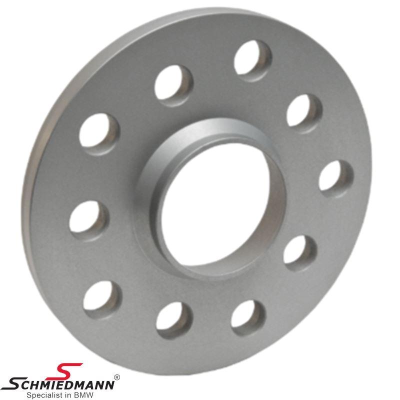 Hjulspacer sæt (2 stk.) alu sølv eloxeret i alt 22MM pr. aksel (11MM pr. side/hjul) 5 huls 5X112 14X1,25 center 66,6 uden centrering system 2 uden bolte