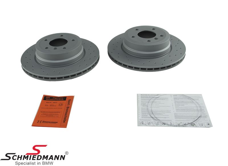 Racing brake discs rear 324X22MM ventilated with holes - Zimmermann (For models with M-Performance brakes)