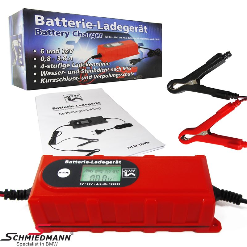 Car and Motorcycle 3,8 Amp 6/12V smart battery charger, 230V / 50Hz, IP65
