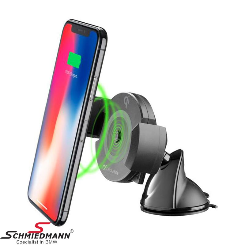 "Mobile holder with ""Fast charge"" wireless charger - With suction cup"