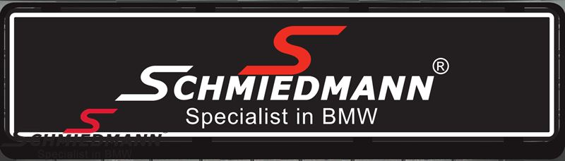 Schmiedmann black logo licenseplates for sales/show cars 50x12CM