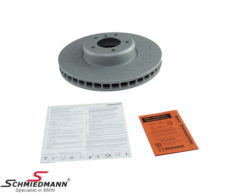 Racing brake disc front 348X36MM ventilated with holes Zimmermann