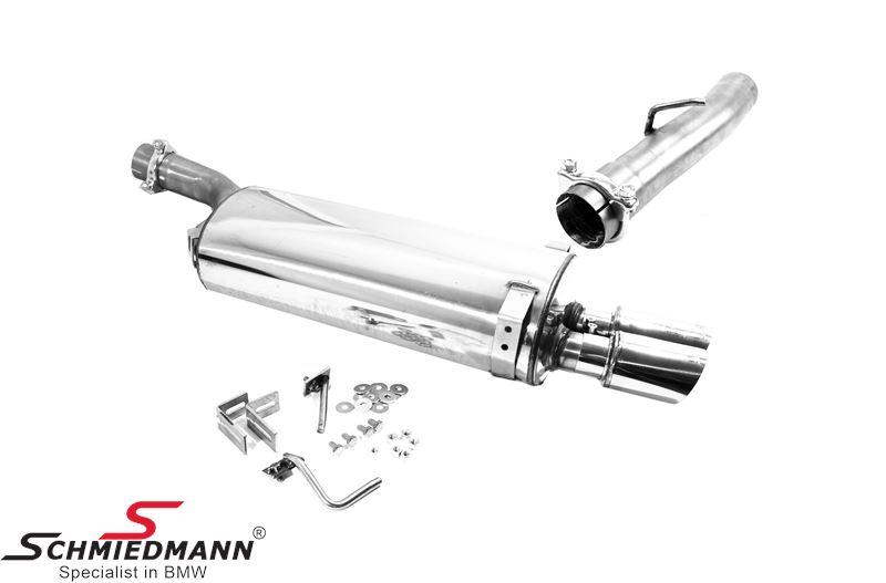 Schmiedmann stainless steel sport rear silencer 2XØ76MM sharp (not rolled) (with interchangeable tailpipes)