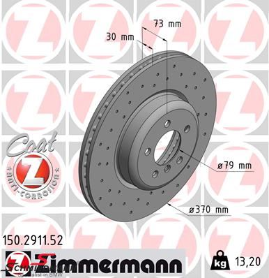 Racing brake discs front 370X30MM ventilated with holes Zimmermann (Priced each)