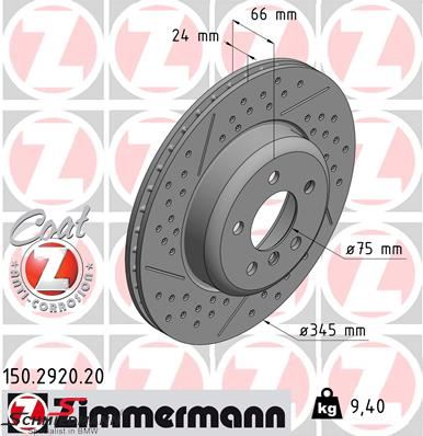 Racing brake discs front 345X24MM ventilated with holes Zimmermann (Priced each)