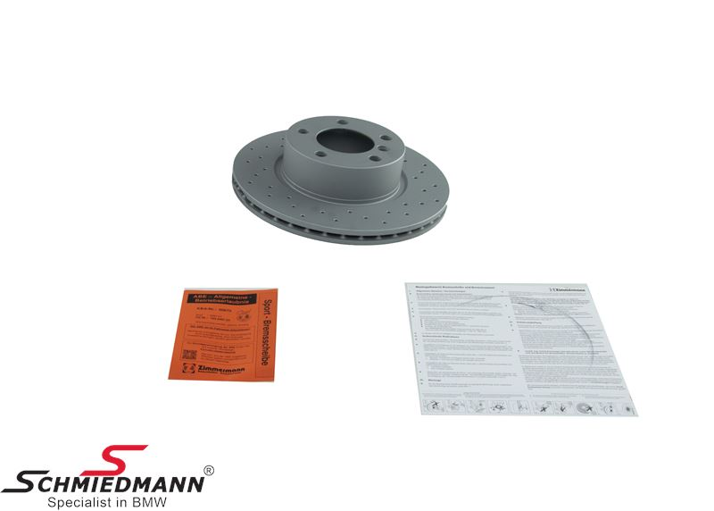 Racing brake discs front set 300X22MM ventilated with holes Zimmermann