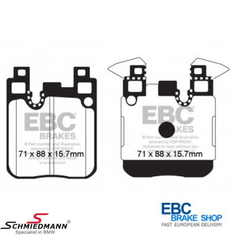 Racing brake pads rear EBC yellow stuff (for road and racetrack)(For M-sport brakes)