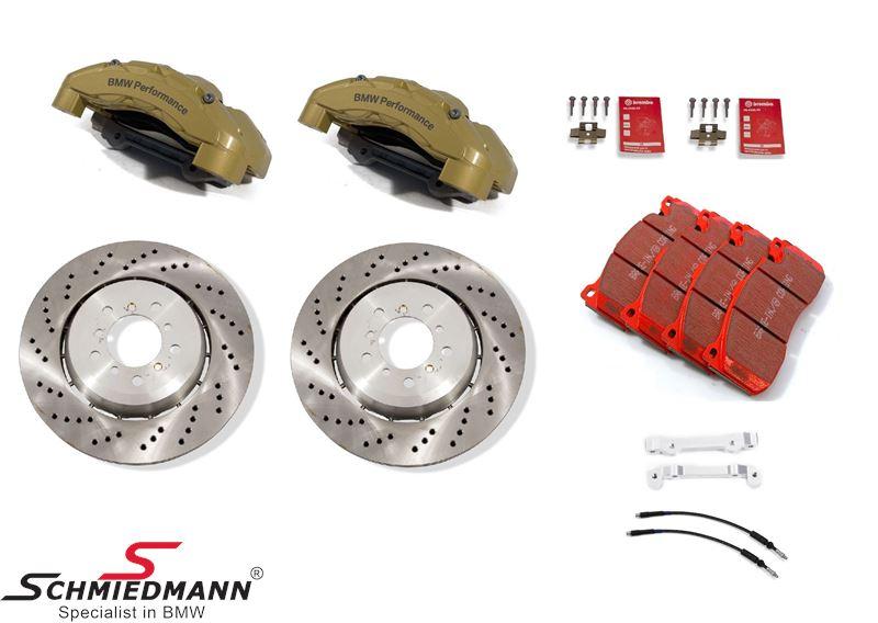 Schmiedmann performance racerbremse-sæt for 345X28MM 6 stemplede gule kalibre