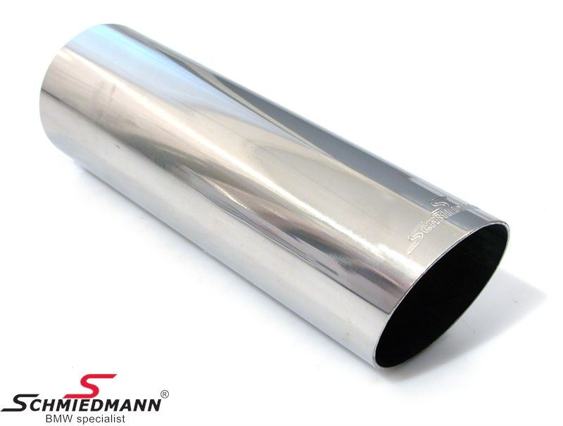 Schmiedmann tailpipe round cut slantwise with embossed logo D=76MM L=230MM