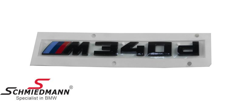 "Emblem trunk lid ""M340D"" Black painted - Original BMW"