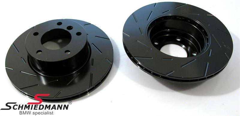 Racing brake discs rear set 276X19MM ventilated slotted EBC Ultimax BlackDash