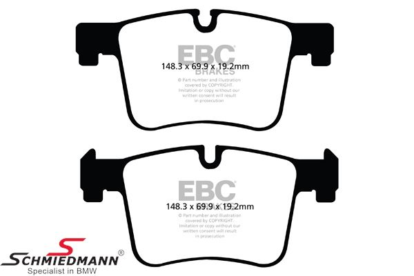 Racing brake pads front EBC green stuff (for sporty driving)(Models without M-sport brakes)
