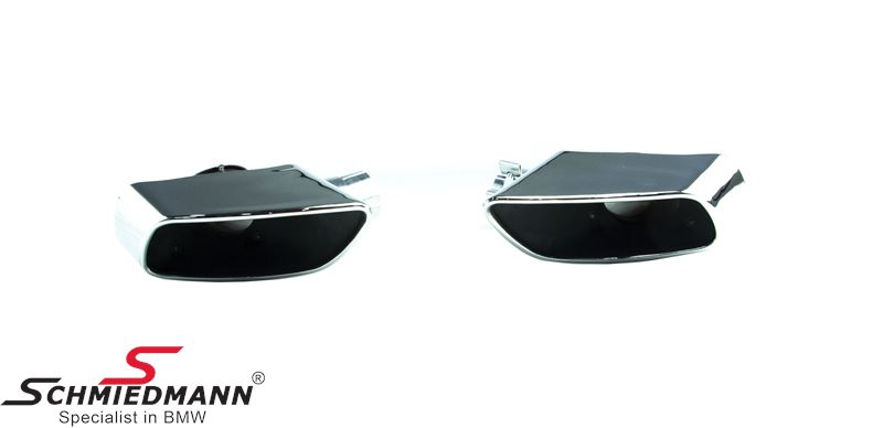 Chrom tailpipe set 1 pcs flat oval tailpipe in each side