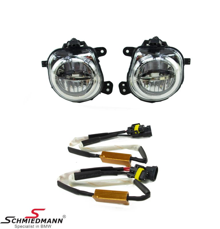Foglight set LED clear (with Resistors)