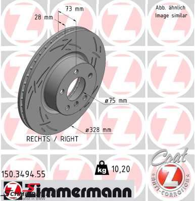 Brakedisc front right 328X28MM Z-type ventilated with holes Zimmermann