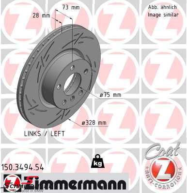 Brakedisc front left 328X28MM Z-type ventilated with holes Zimmermann