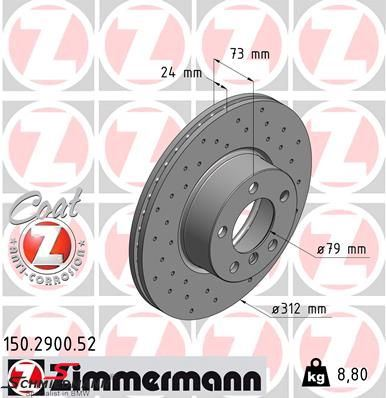 Racing brake disc front 312X24MM ventilated with holes Zimmermann