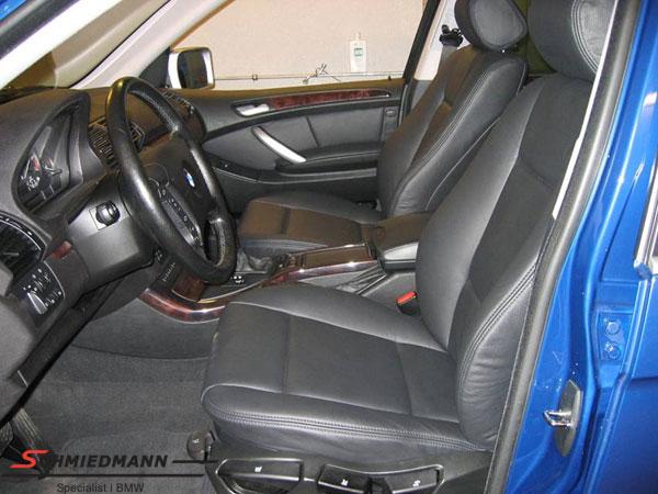 Læderindtræk til forsæder/døre org. Schmiedmann sort uden montering