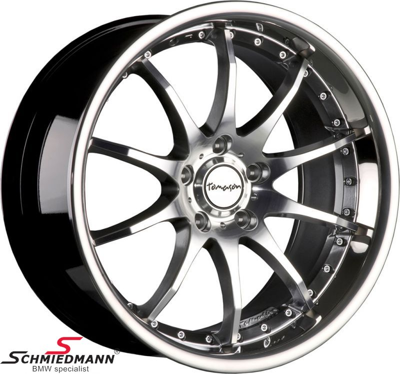 """19"""" -Tomason TN8- hyper black diamant polished rim 9,5X19 (with stainless steel lip) (fits only rear)"""
