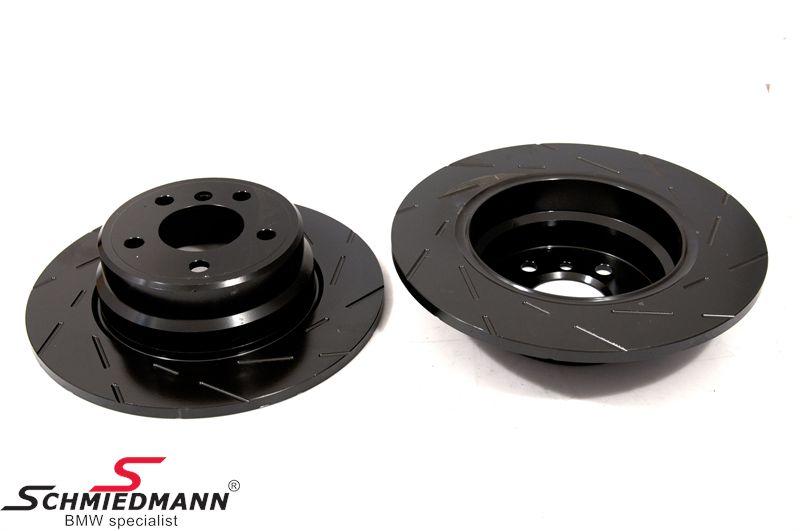 Racing brake discs rear set 324X12MM solid slotted EBC Ultimax BlackDash
