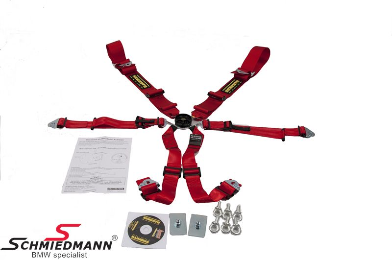 Racing 6 point restraints -Hosenträgergurt- Profi II-6 SlipStop original -Schrothgurt- red fits both sides