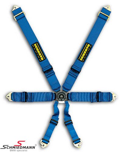 Racing 6 point restraints -Hosenträgergurt- Profi II-6 SlipStop original -Schrothgurt- blue fits both sides