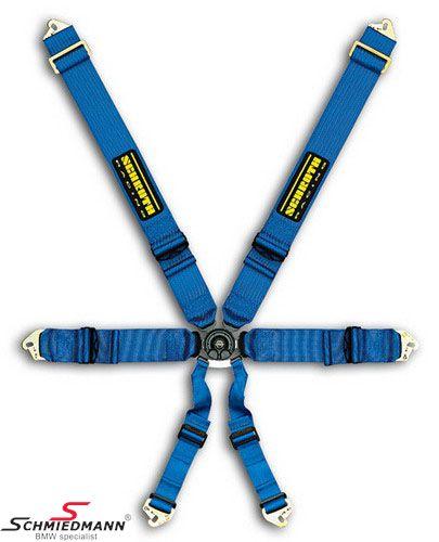 Racing 6 Punkt- Profi II-6 SlipStop -Hosträgergute- original -Schrothgurt- blau passend für beide Seiten