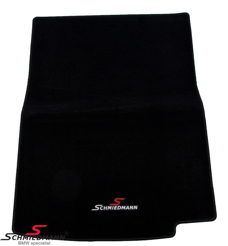 Trunk mat black fabric with Schmiedmann logo