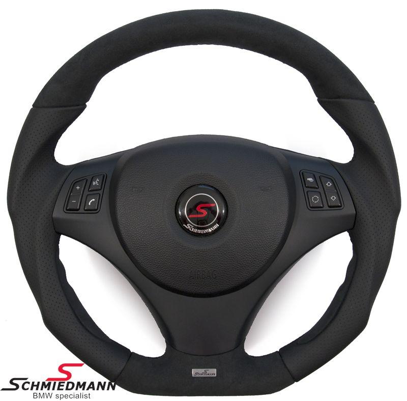 Schmiedmann flat bottom sport steering wheel 3 spoke handmade with genuine perforated aero-nappa leather/alcantara