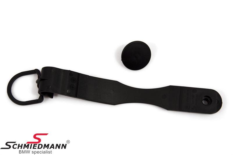 Haken mit Gummiband, hält den Gepäckraumboden während Sie das Reserverad herraus hohlen