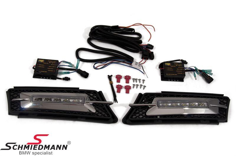 LED kørelys eftermonterings-sæt inkl. krom afdækninger til tågelygterne