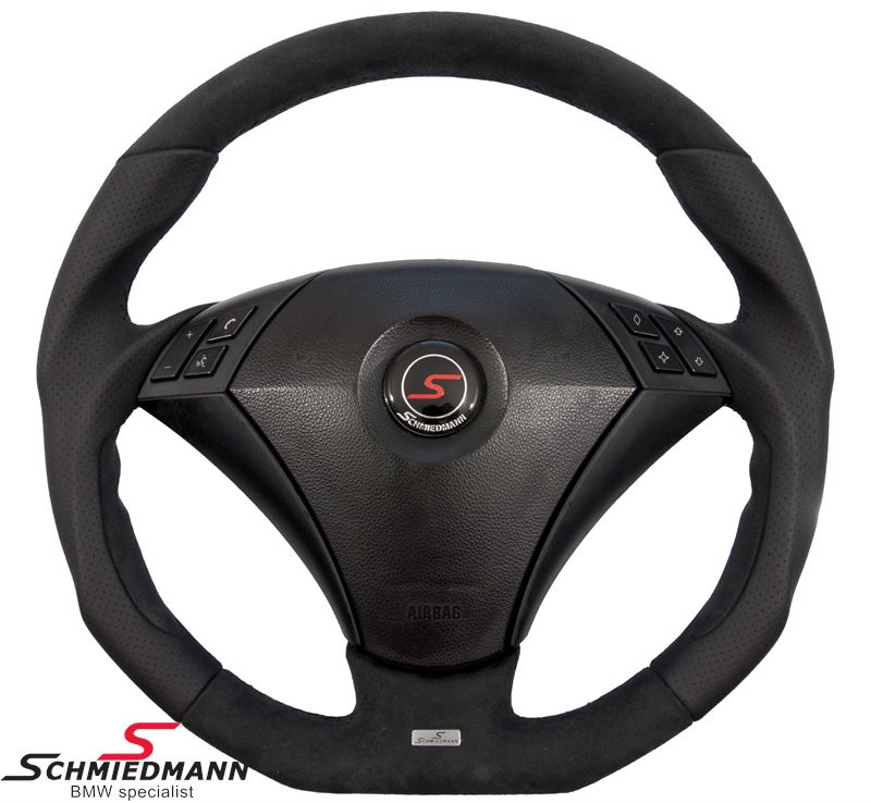Schmiedmann flat bottom sportsrat 3 eger læder håndbygget med ægte perforeret aero-nappa-læder/alcantara