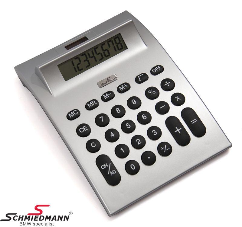 Schmiedmann desk calculator with a little-Schmiedmann- metal emblem / with photovoltaics