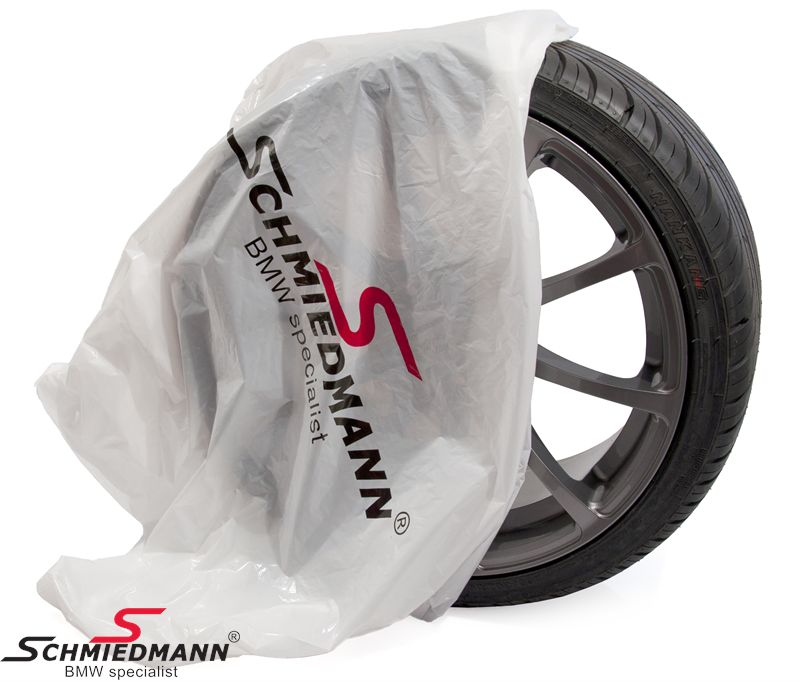 Schmiedmann wheel plastic bag 700x260x1000MM white w. -Schmiedmann- logo