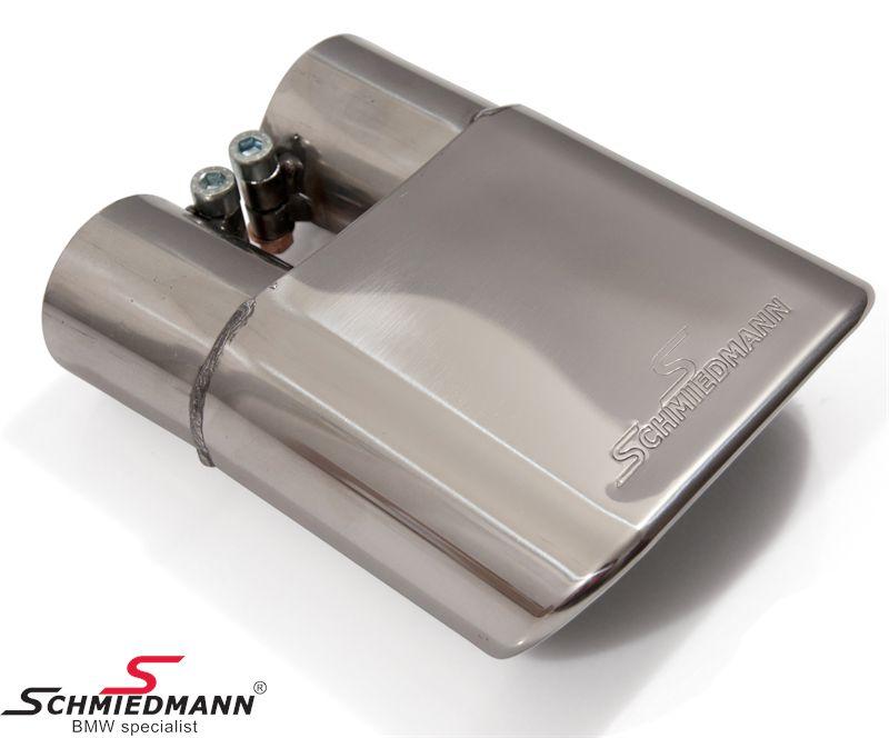 Schmiedmann chrome slutrör 140X60MM platt-ovalt slutrör