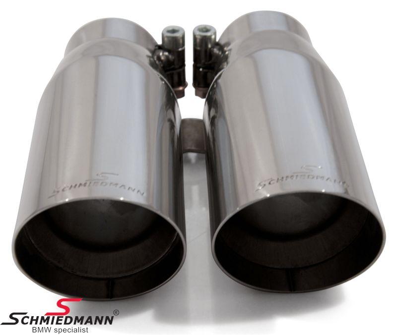 Schmiedmann chrome slutrör dubbla 2X70MM