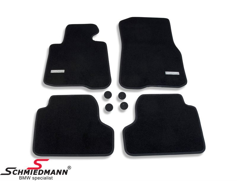 Floormats front/rear original Schmiedmann -Exclusive- black extra thick quality with white sewings