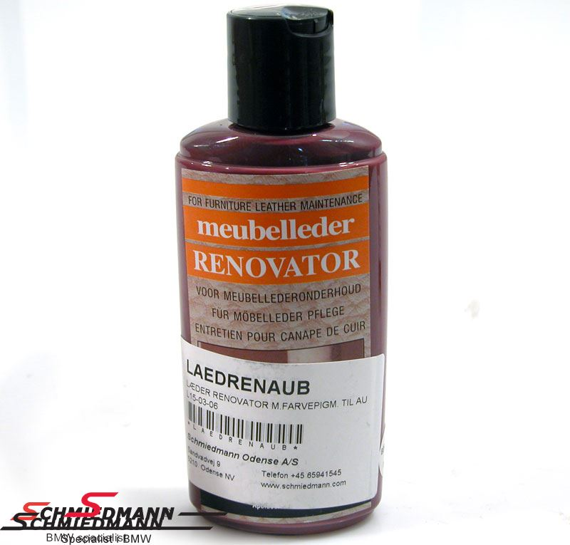 Leather renovation with colour pigments for aubergine coloured leather 200ML bottle