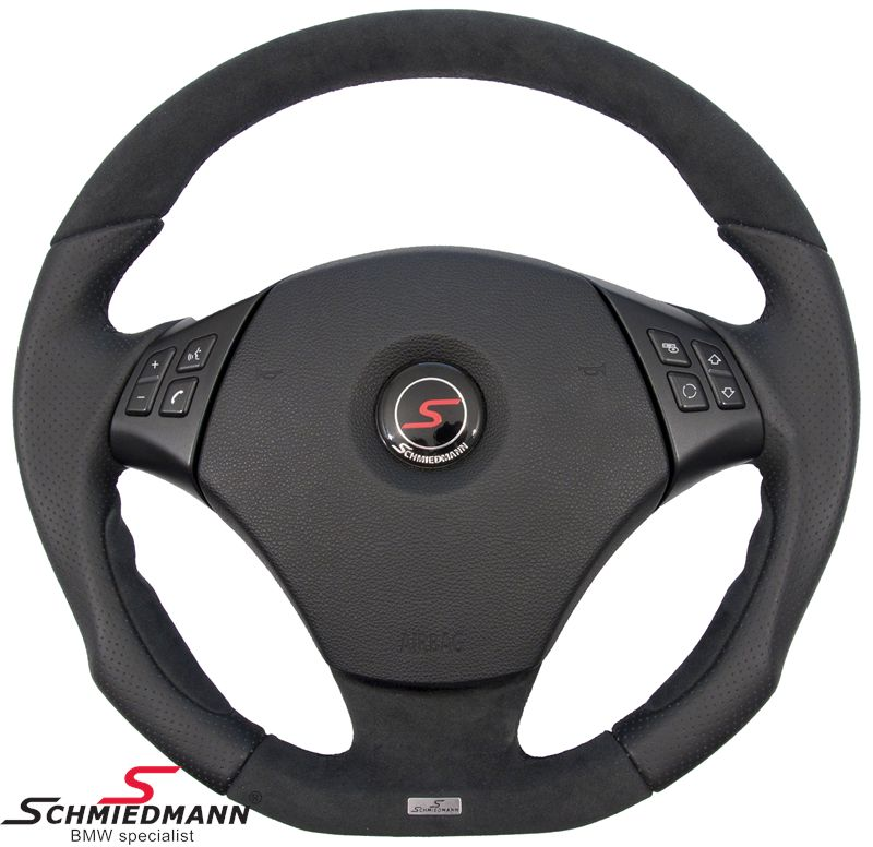 Schmiedmann flat bottom sport steering wheel 3 spoke handmade with genuine perforated aero-nappa leather/alcantara