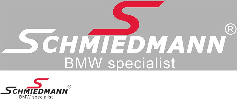"Schmiedmann streamer -BMW specialist- lenght = 30CM red ""S"" and white text"