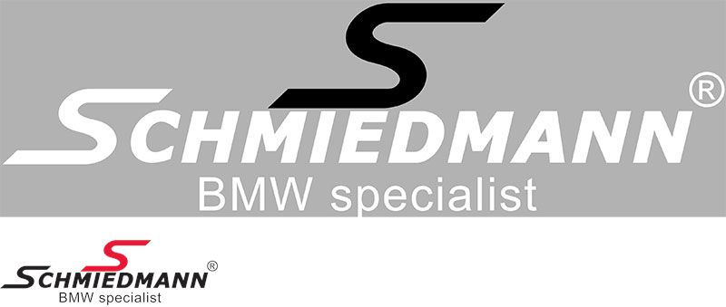 "Schmiedmann streamer -BMW specialist- lenght = 30CM black ""S"" and white text"