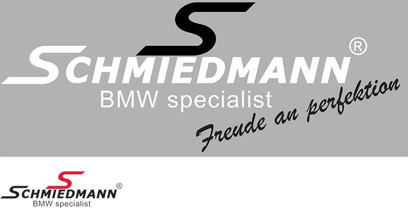 """Schmiedmann streamer -Freude an Perfektion- længde = 30CM sort """"S"""" tekst hvid"""