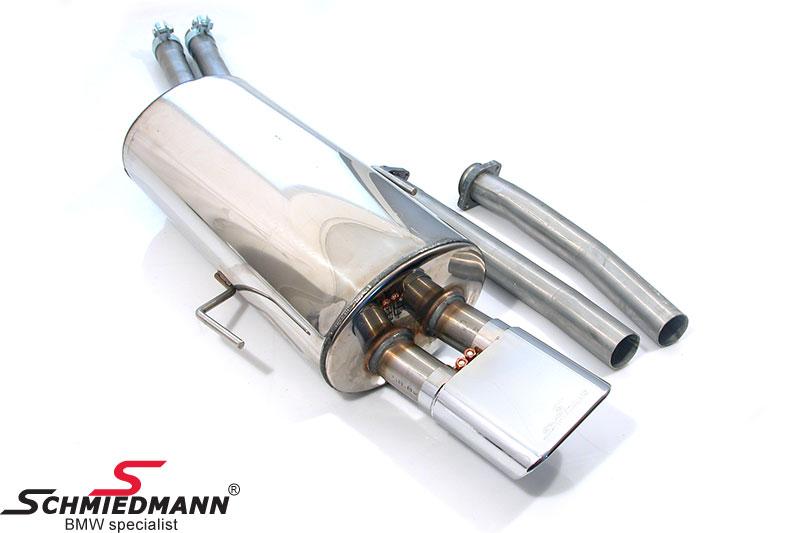 SCM36F  Schmiedmann sport takavaimennin ruostumatonta terästä 1 X 140X60MM ovaalilla ulostulolla (vaihdettavat ulostulot)