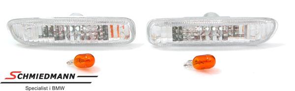 Sideblink E46 hvite klarglass -09/01