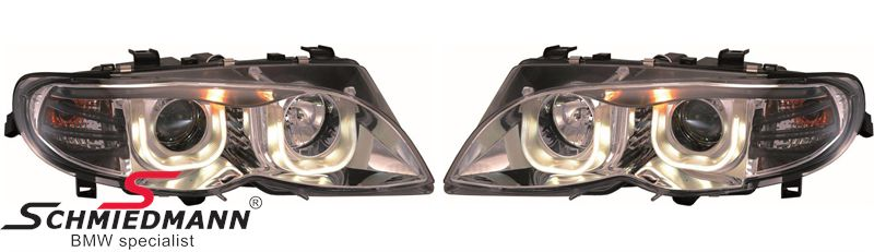Klarglas krom -3D- forlygter H1+H7 m.indbyg.blink, LED angel-eyes i TFL-DRL facelift look