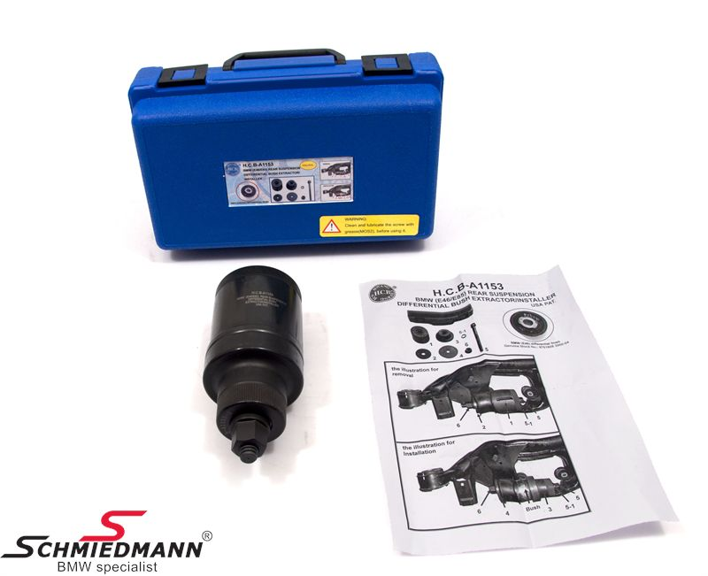 Back most rear sub-frame differential bush remover/installer special tool set (The work can be done directly on the car without removal of the differential)