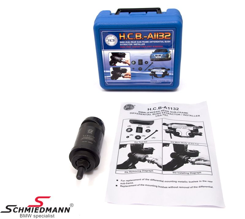 Front rear sub-frame differential bush remover/installer special tool set (The work can be done directly on the car without removal of the differential)