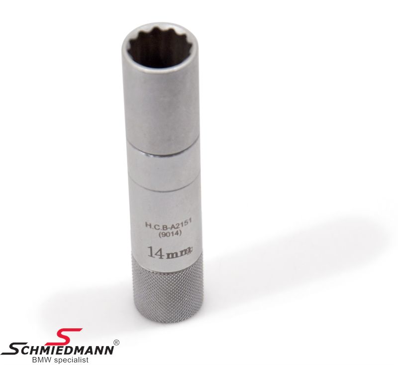 Special slim-walled 3/8 14MM socket for 12point spark plugs (not for 6 point)
