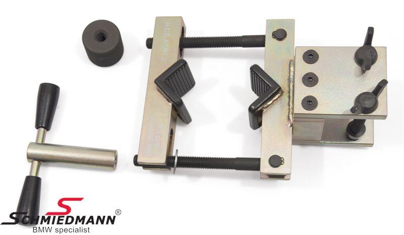 Fjederben/støddæmper-holde-værktøj fastgøres på filebænken